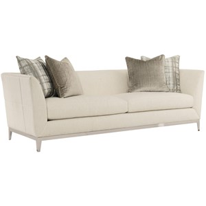 Contemporary Tuxedo Back Sofa with Stainless Steel Trim