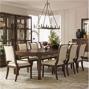 9 Piece Dining Set with Fluting Detail