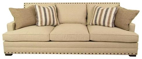 Sofa with Nail Head Trim and Low Set Arms