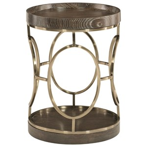 Metal, Round End Table with Wood Top and Base