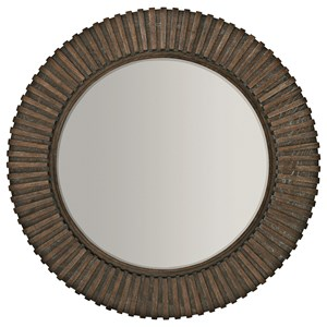 Round Mirror with Ribbed Frame