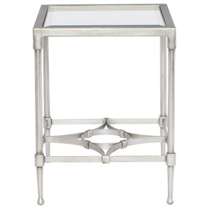 Contemporary Glass Top End Table with Metal Base