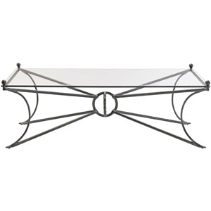 Contemporary Rectangular Cocktail Table with Glass Top