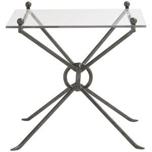 Contemporary Rectangular End Table with Glass Top