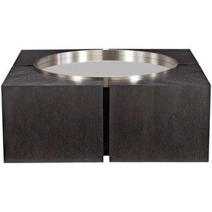 Contemporary Square Cocktail Table with a Mirrored Glass and Stainless Steel Inset and Casters
