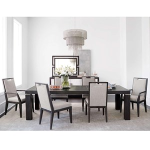 7 Piece Rectangular Table and Chair Set with Leaf
