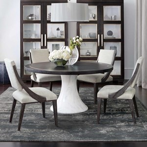 Contemporary 5 Piece Round Table and Chair Set