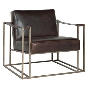 Dekker Industrial Leather Chair with Metal Arms