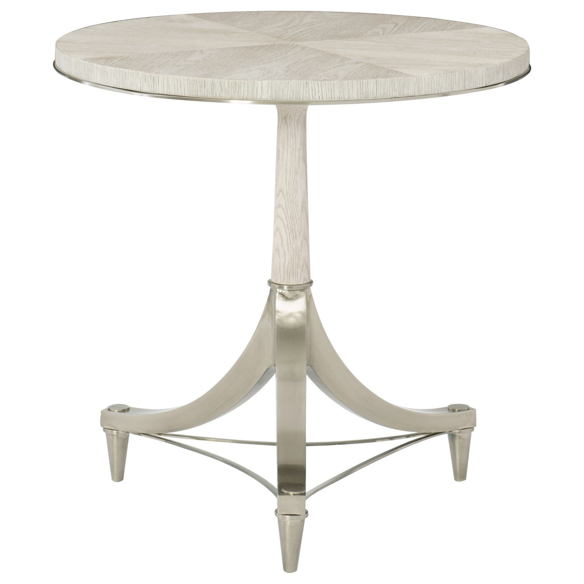 Domaine Blanc Round Pedestal Chairside Table by Bernhardt at Fisher Home Furnishings