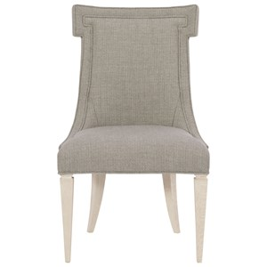 Transitional Upholstered Side Chair with Solid Wood Legs
