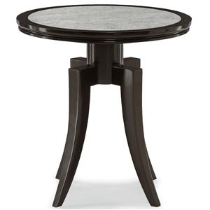 Round End Table with Antiqued Mirror Glass Top