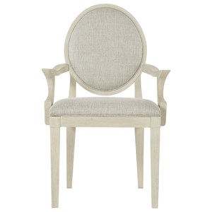 Transitional Oval Back Arm Chair