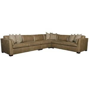 Contemporary Leather Five Seat Sectional Sofa