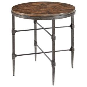Round Herringbone End Table