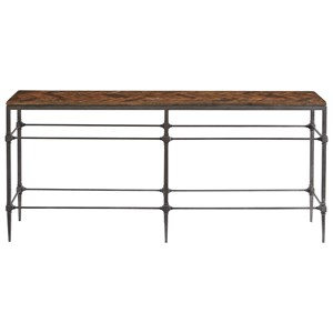 Herringbone Console Table with Metal Base