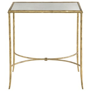 Square Metal End Table with Antique Mirror Top