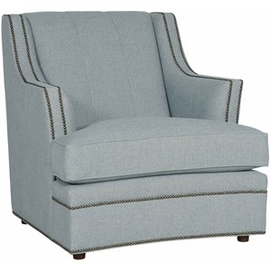 Transitional Channeled Back Chair with Nailheads