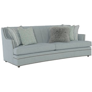 Transitional Channeled Back Sofa with Nailheads and Two Sets of Toss Pillows