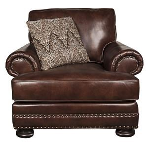 100% Leather Chair with Nailhead Trim and Down Filled Pillow