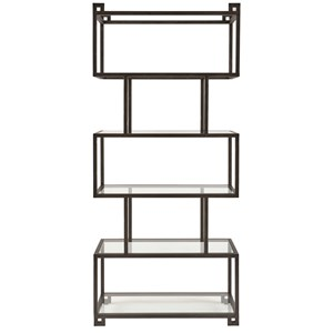 Metal Etagere with 5 Glass Shelves