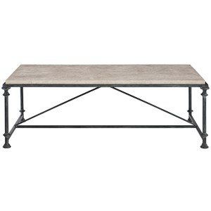 Transitional Metal Cocktail Table with Laminated Travertine Stone Top