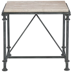 Transitional Metal End Table with Laminated Stone Top