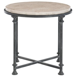 Transitional Metal End Table with Round Laminated Stone Top