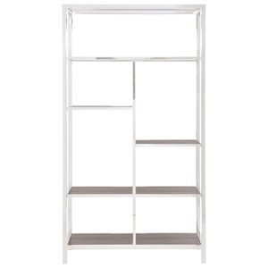 Metal Etagere with Stone Grain Tempered Glass