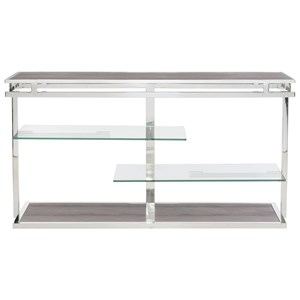 Metal Entertainment Console with Tempered Glass Shelves