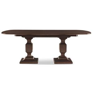 Double Pedestal Dining Table with 2 Leaves
