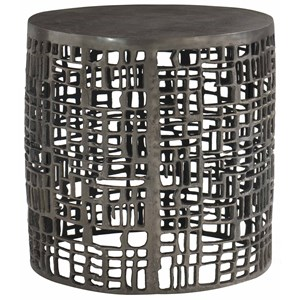 Chairside Table with Geometric Pattern and Graphite Finish