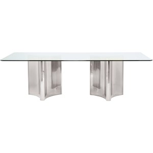 Metal Dining Table with Glass Top