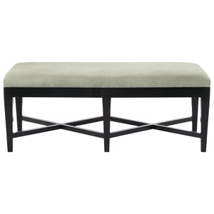 Leather Kendall Bench with Double X Stretcher Base