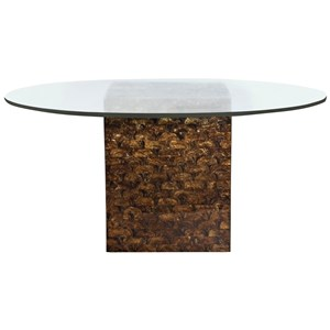 "54"" Glass Round Dining Table with Capiz Shell Base"