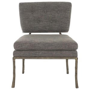 Contemporary Upholstered Chair with Antique Gold Metal Frame