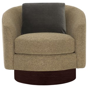 Barrel Back Swivel Chair with Wood Base