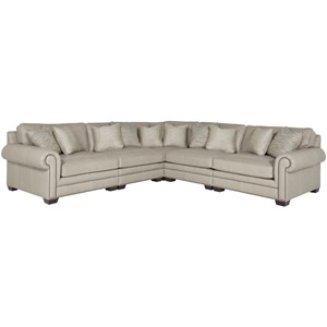Transitional Sectional Sofa with Nailhead Trim