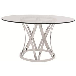 Round Glass Top Dining Table with Polished Metal Base