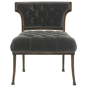 Tufted Accent Chair with Antique Gold Frame