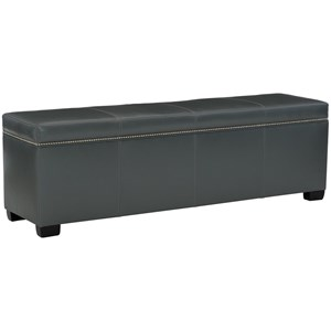 Contemporary Leather Bench with Adjustable Glides
