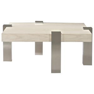 Contemporary Cocktail Table with White Walnut Top