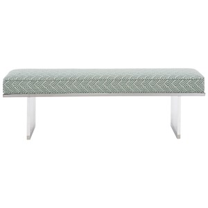 Acrylic with Stainless Steel Accent Bench with Upholstered Cushion