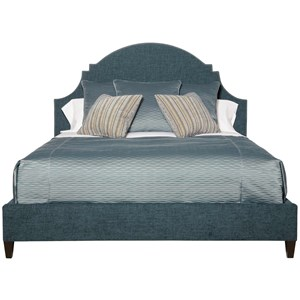 King Upholstered Bed with Scalloped Headboard