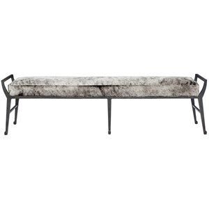 Contemporary Upholstered Bench with Exposed Metal Frame