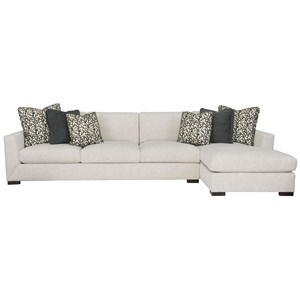 Contemporary Two Piece Sectional Sofa with Chaise Lounge