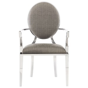 Transitional Metal Upholstered Arm Chair