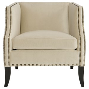 Chair with Geometric Accent Pattern and Nailhead Trim