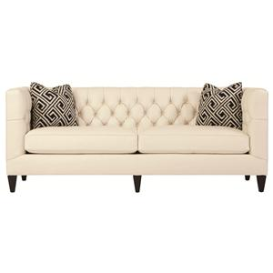 Transitional Styled Beckett Leather Sofa in Tuxedo Sofa Style