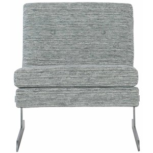 Contemporary Upholstered Chair with Silver Leaf Metal Legs