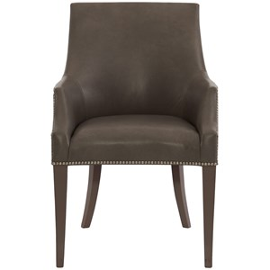 Upholstered Dining Arm Chair With Nail Head Trim